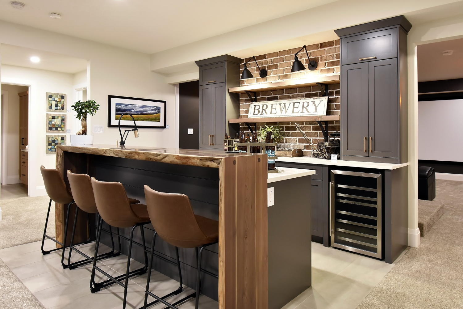 Basement Bar with Matte Black Articulating Faucet