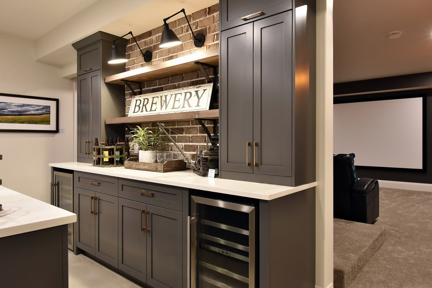 Basement Bar with Black Wall Sconces