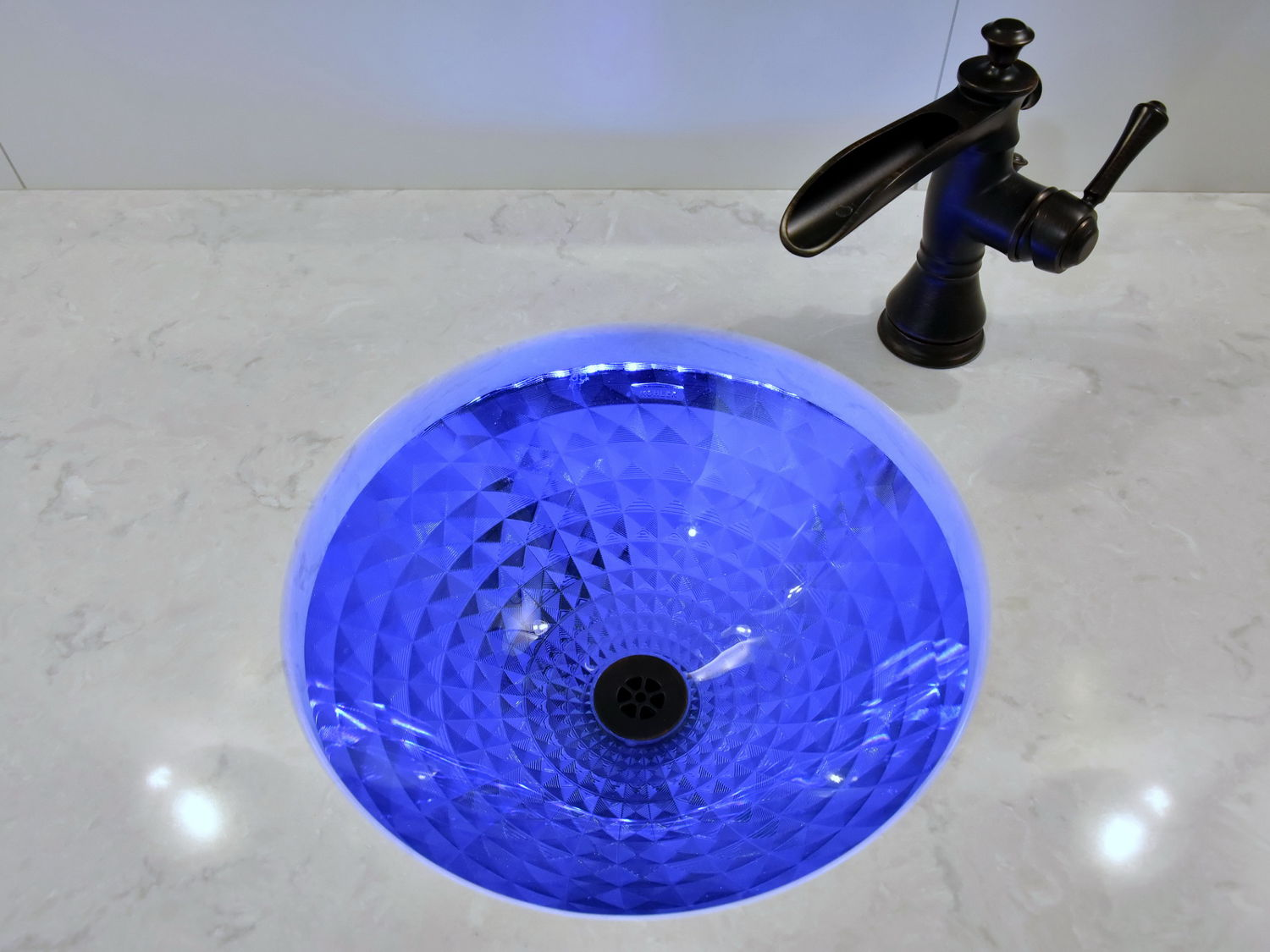 Delta Trough style faucet in Oil Rubbed Bronze, Glass Under Mount Sink