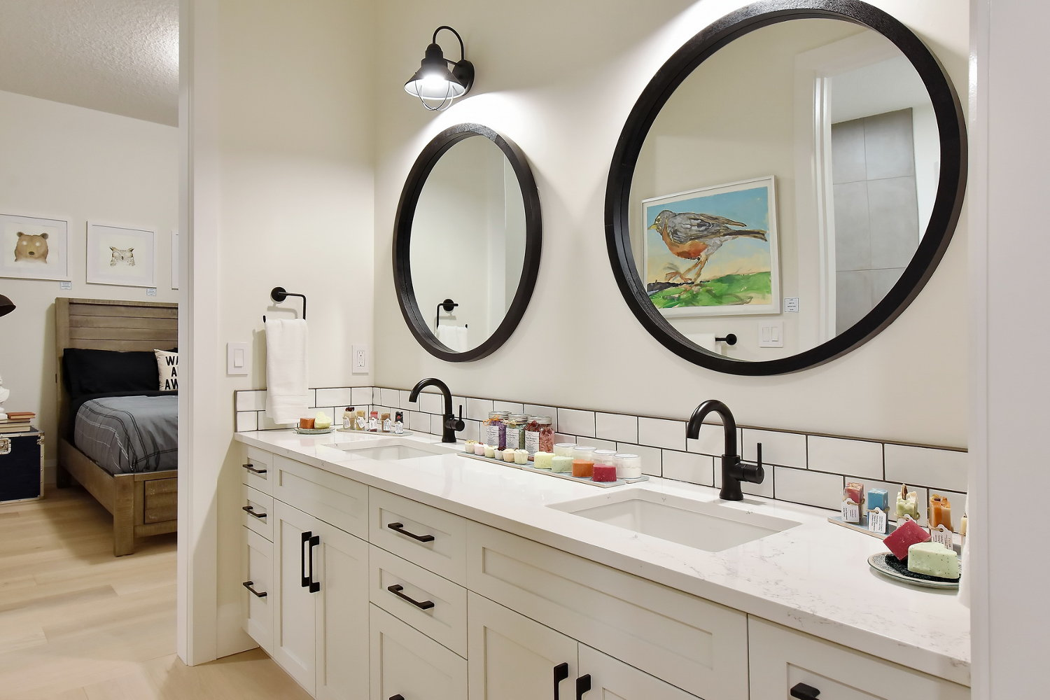 Jack & Jill Bathroom with Matte Black Faucets