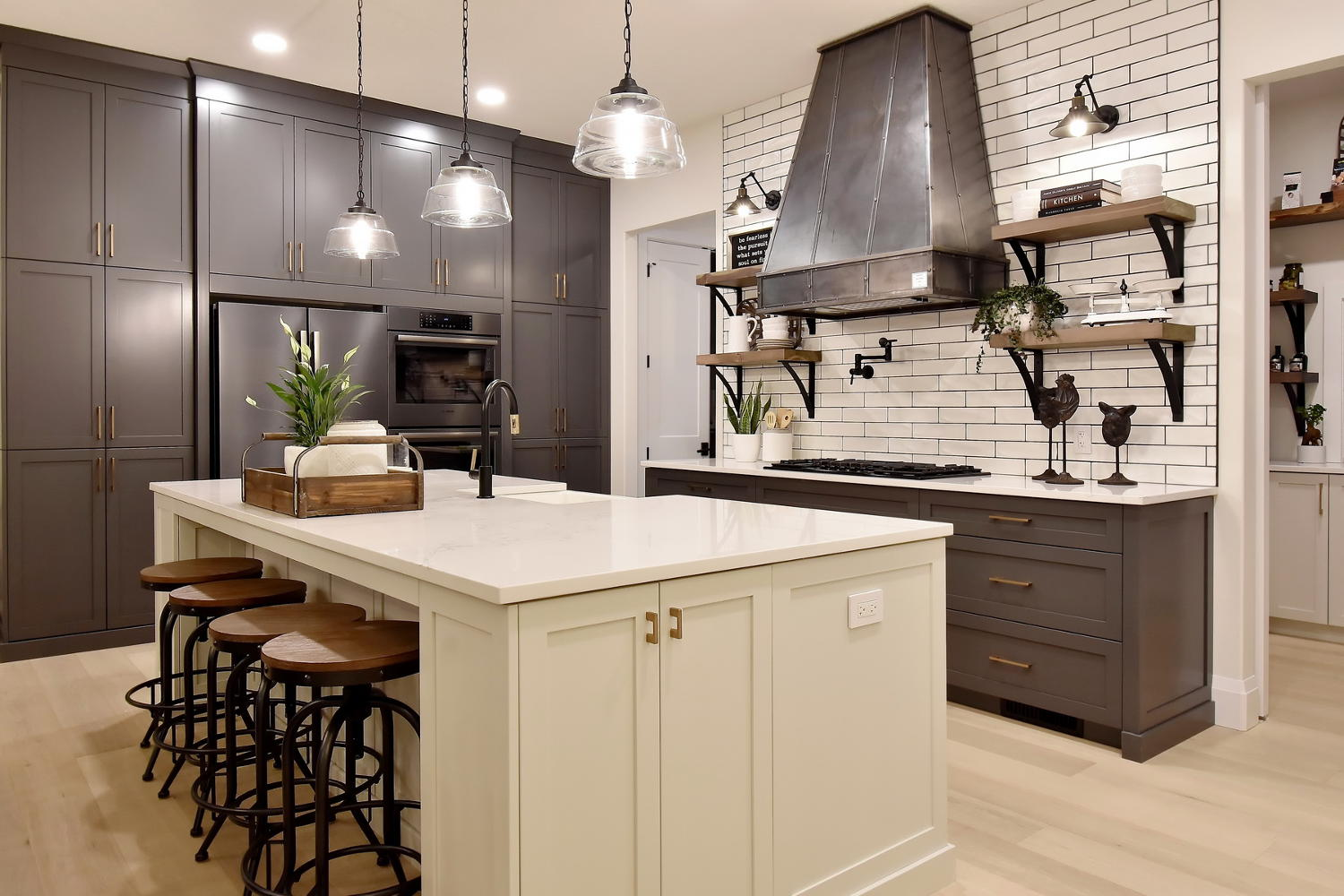 Farmhouse kitchen with matte black fixtures
